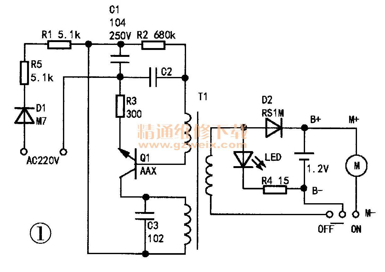 节能灯塑封开关三极管13003代换Q1,如图2所示,通电测试,充电电