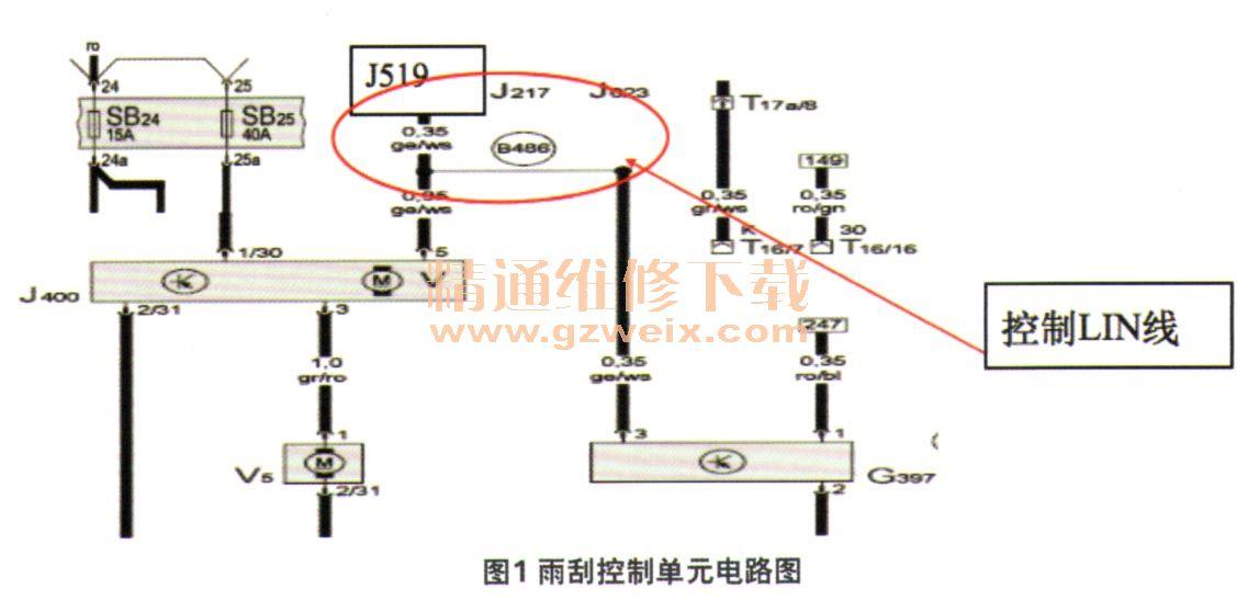 对照电路图(图1),检查雨刮控制单元j400与j519之间的lin线连接情况