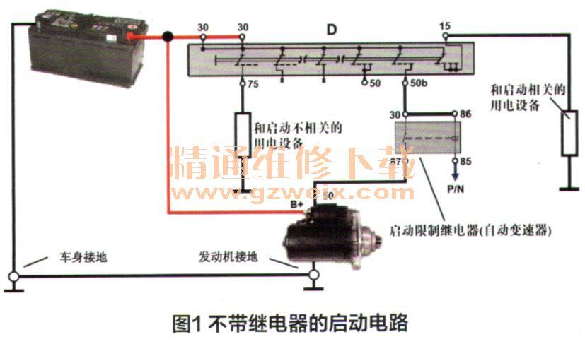 带继电器的启动电路(图2),在自动变速器的车型上还带有启动锁图片