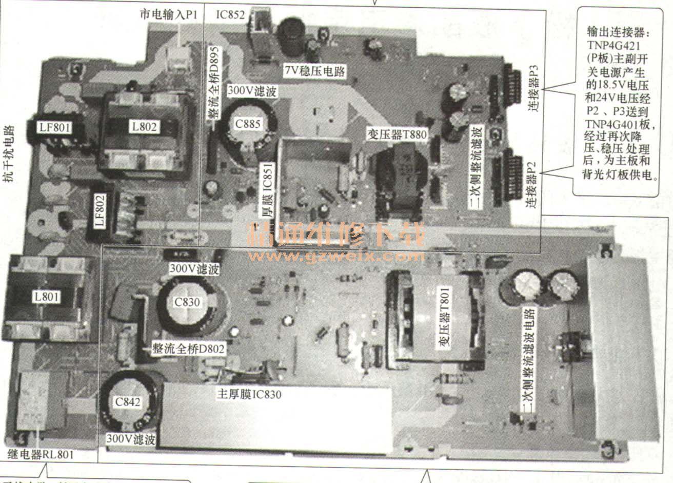 松下tnp4 g421 aa液晶彩电电源板原理详解