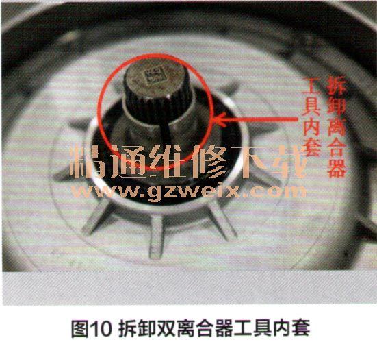 双离合器由两组离合器组成,分别为离合器K1和离合器K2,离合器K1驱动输入轴1,离合器K2驱动输入轴2。发动机动力通过飞轮传到双离合器后,分别通过结合离合器K1和离合器K2,然后将动力传递到变速箱内部。双离合器是变速箱动力传动的重要元件,图7为双离合器的结构组成,图8为双离合器总成。   随着Q5车型使用年限和行驶公里数增多,现在OB5变速箱常发故障也突显出来,双离合器是一个比较容易损坏的零件,那么在维修过程中就需要知道使用何种专用工具及如何拆卸双离合器,使得拆卸工作既方便又快速省力。 双离合器拆卸使用到