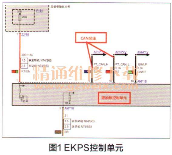 发现电路图上的ekps供电插头有4根导线,如图3所示,车辆上紫色与棕色的