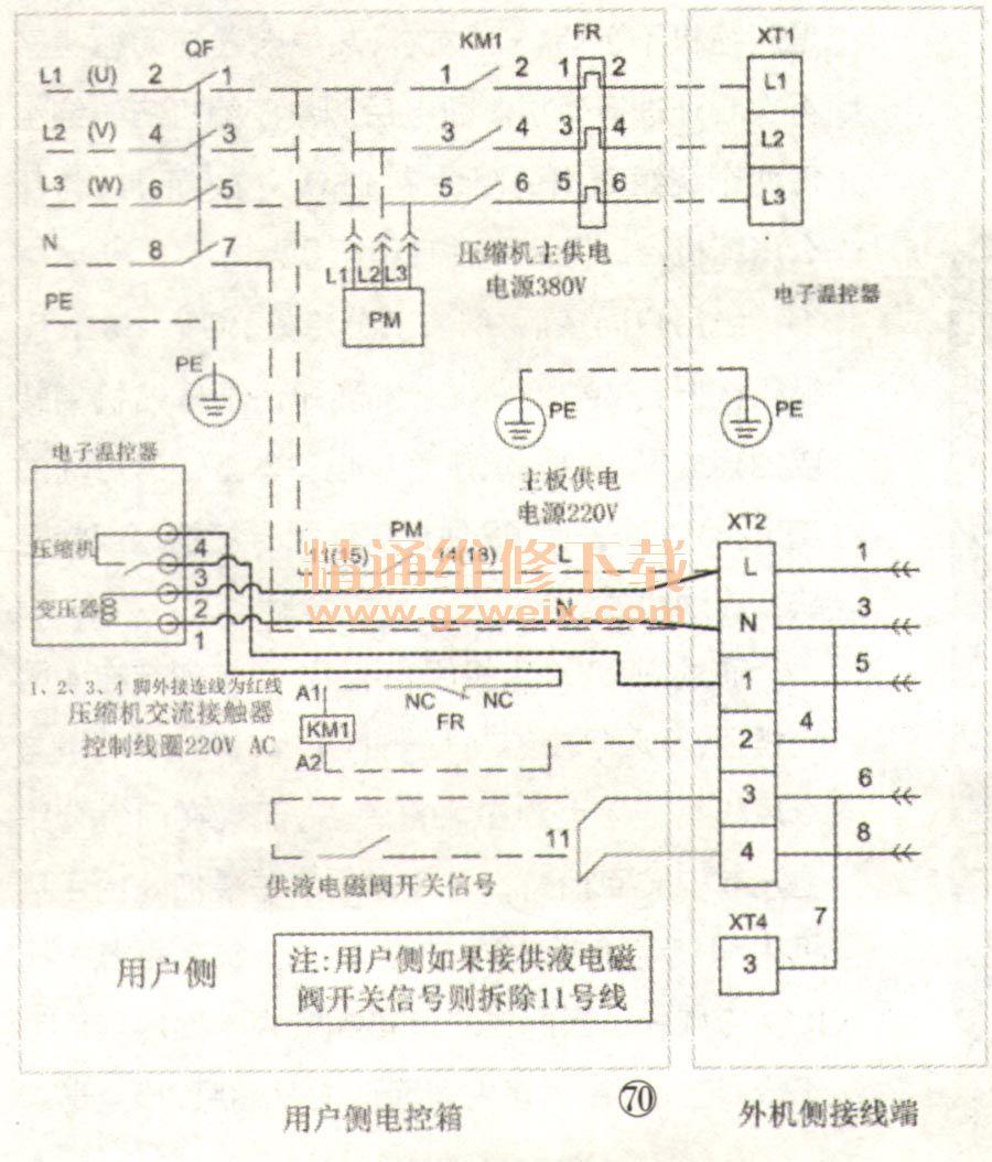 如图70所示,相序器的触头pm输出需要直接接到xt2接线排的l端,这样只要