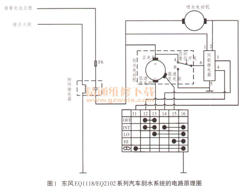 东风eq 111 8/eq2102系列汽车刮水系统电路原理及检修