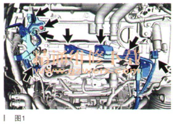 一、拆卸 1.排空发动机机油。 2.拆卸热器总成。 3.拆卸炊匆由泵总成(高压)。 4.拆卸PCV软管。 5.拆卸4号PCV软管。 6.拆卸3号PCV软管。 7.拆卸2号PCV软管。 8.断开发动机线束。 (1)从4个点火线圈总成上断开4个连接器,如图1所示。  (2)从凸轮轴正时机油控制阀总成上断开连接器。 (3)从2个凸轮轴位置传感器上断开2个连接器。 (4)从空燃比传感器上断开连接器。 (5)拆下螺栓并从汽缸盖罩分总成上断开线束卡夹支架。 9.断开3号和4号涡轮水软管。 1o.拆卸1号涡轮水管分总成