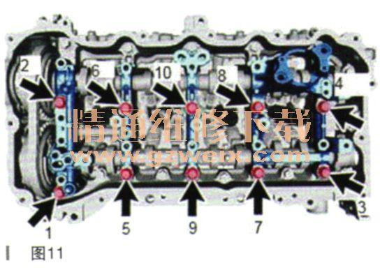 (3)将挡片孔与1号链条张紧器总成对准,并将销插入挡片孔以锁止1号链条张紧器总成,如图5所示。  (4))顺时针转动曲轴约15°,如图6所示。  (5)拆下螺栓和螺母,然后从汽缸体分总成上拆下1号链条张紧器总成和衬垫,如图7所示。小心:确保不要将衬垫掉入正时链条盖总成内。  (6)逆时针转动曲轴约15°,如图8所示:  17.拆卸正时链条导板。 18.拆卸凸轮轴正时机油控制电磁阀总成。 19.拆卸凸轩踌由正时齿轮螺栓。 (1)用扳手固定凸轮轴的六角部分并从凸轮轴上拆下凸轮轴正时齿轮螺栓,如