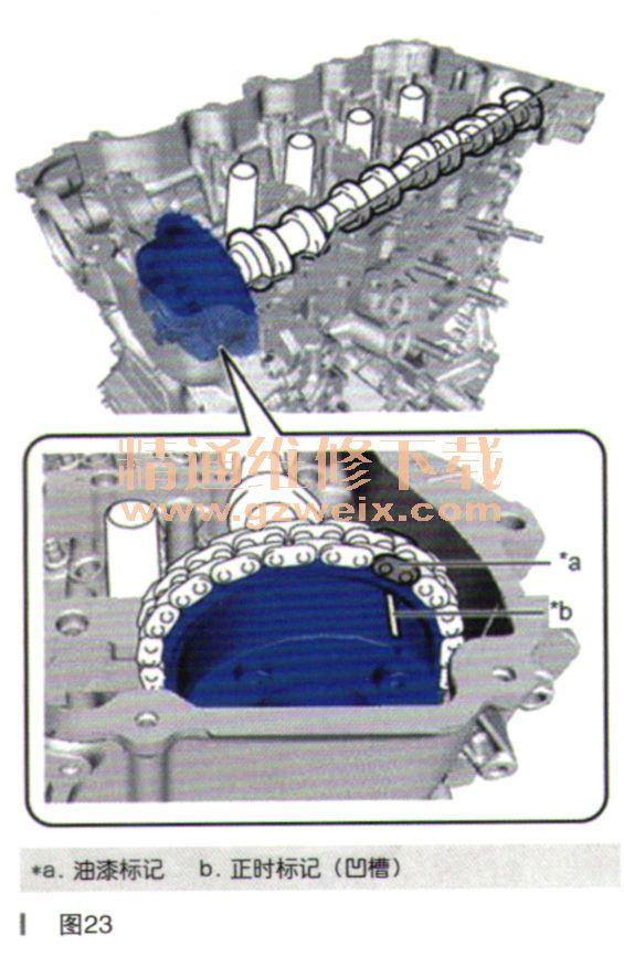 """二、安装 1.安装2号凸轮轴轴承。 2.安装1号凸轮轴轴承。 3.安装机油控制阀滤清器。 4.安装排气凸轮滑正时齿轮总成。 提示:更换排气凸轮轴正时齿轮总成后,执行""""维修后检查""""。 (1)将2号凸轮轴固定在台钳的铝板间。如图18所示使用SST,夹住六角部位,然后将SST和2号凸轮轴固定在台钳上。S."""