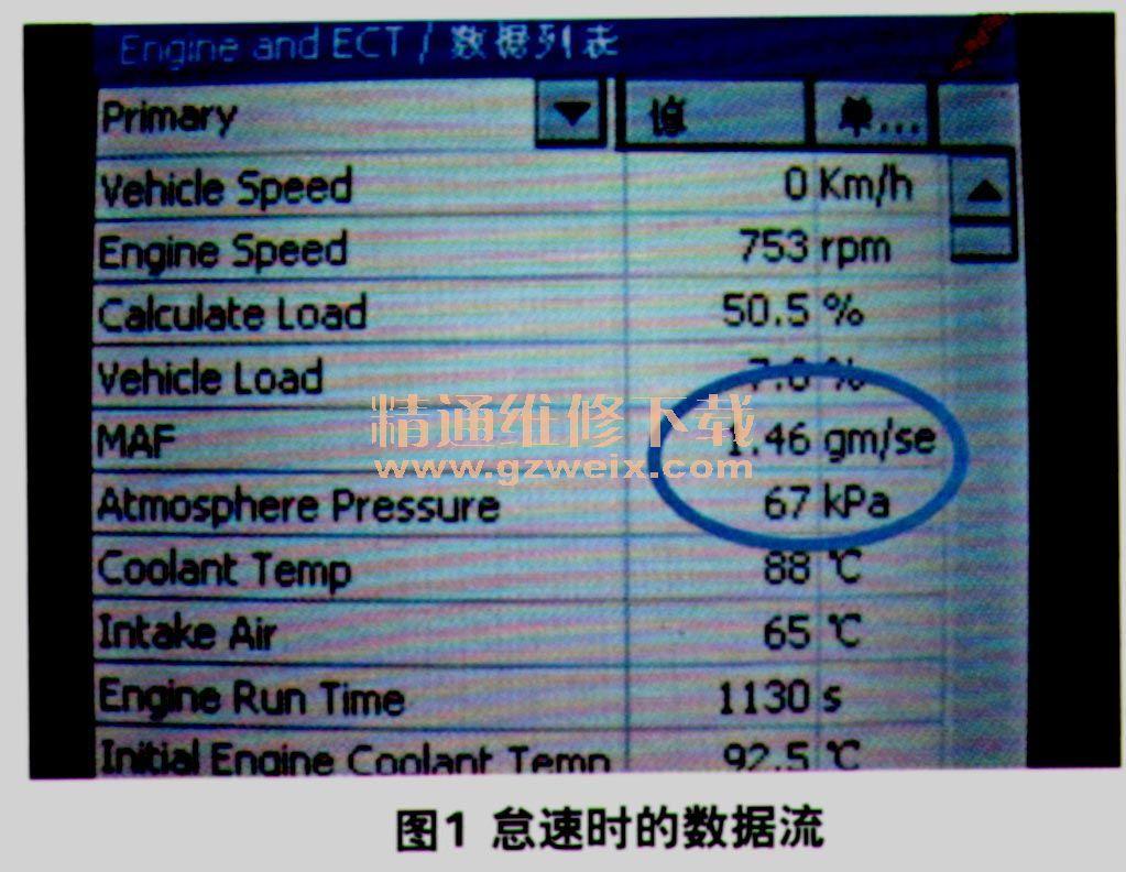 汽车技术 汽车维修 丰田维修实例       发动机怠速运转时查看数据流