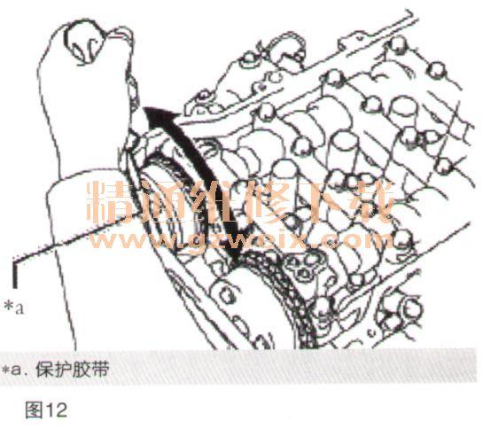 13.检查排气凸轮轴正时齿轮总成。 (1)暂时安装排气凸轮轴正时齿轮总成,如图9所示。  将螺栓插入排气凸轮轴正时齿轮总成。 将2号凸轮轴上的直销与排气凸轮轴正时齿轮总成内的销孔对准,并用螺栓将排气凸轮轴正时齿轮总成暂时安装到2号凸轮轴上。 注意:在该步骤中,不要将链条分总成安装到排气凸轮轴正时齿轮总成上。 安装排气凸轮轴正时齿轮总成时,不要使链条分总成干扰排气凸轮轴正时齿轮总成。 (2)检查排气凸轮轴正时齿轮总成的锁止情况。 检查并确认排气凸轮轴正时齿轮总成锁止。 如果排气凸轮轴正时齿轮总成未按规定工