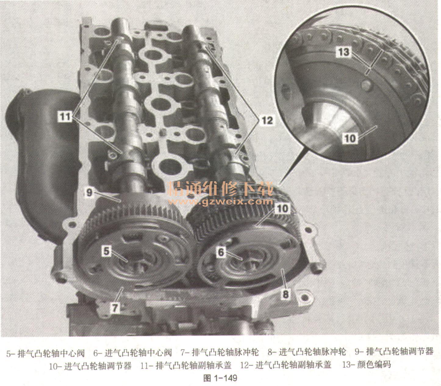 2009~2013年奔驰r350l 4matic(w251)(3.5l m272)发动机正时校对方法
