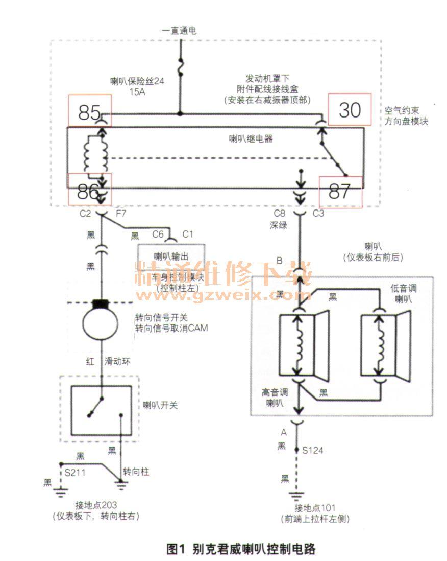 (2)拔下发动机罩下接线盒内喇叭继电器,万用表直流电压档(20v)
