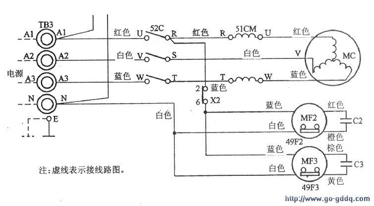 此类故障应先从供电电源查起。三菱PSH-5VG2型空调器室外机局部电路如图所示。      在通电情况下查看室外风机转动是否正常,判断压缩机和风机驱动继电器是否能吸合;接下来用万用表分别测量压缩机三相电动机TB3的端子Al、A2、A3对中性线N的电压,判断压缩机的供电电路是否正常:      检查三相电源熔丝是否熔断;测量压缩机各相绕组是否有匝间短路或局部短路故障;最后检测压缩机是否有抱轴或卡壳现象。      由于室外风机转动正常,说明控制压缩机和风机的继电器52C已经吸合。经测量发现Al-N之间有