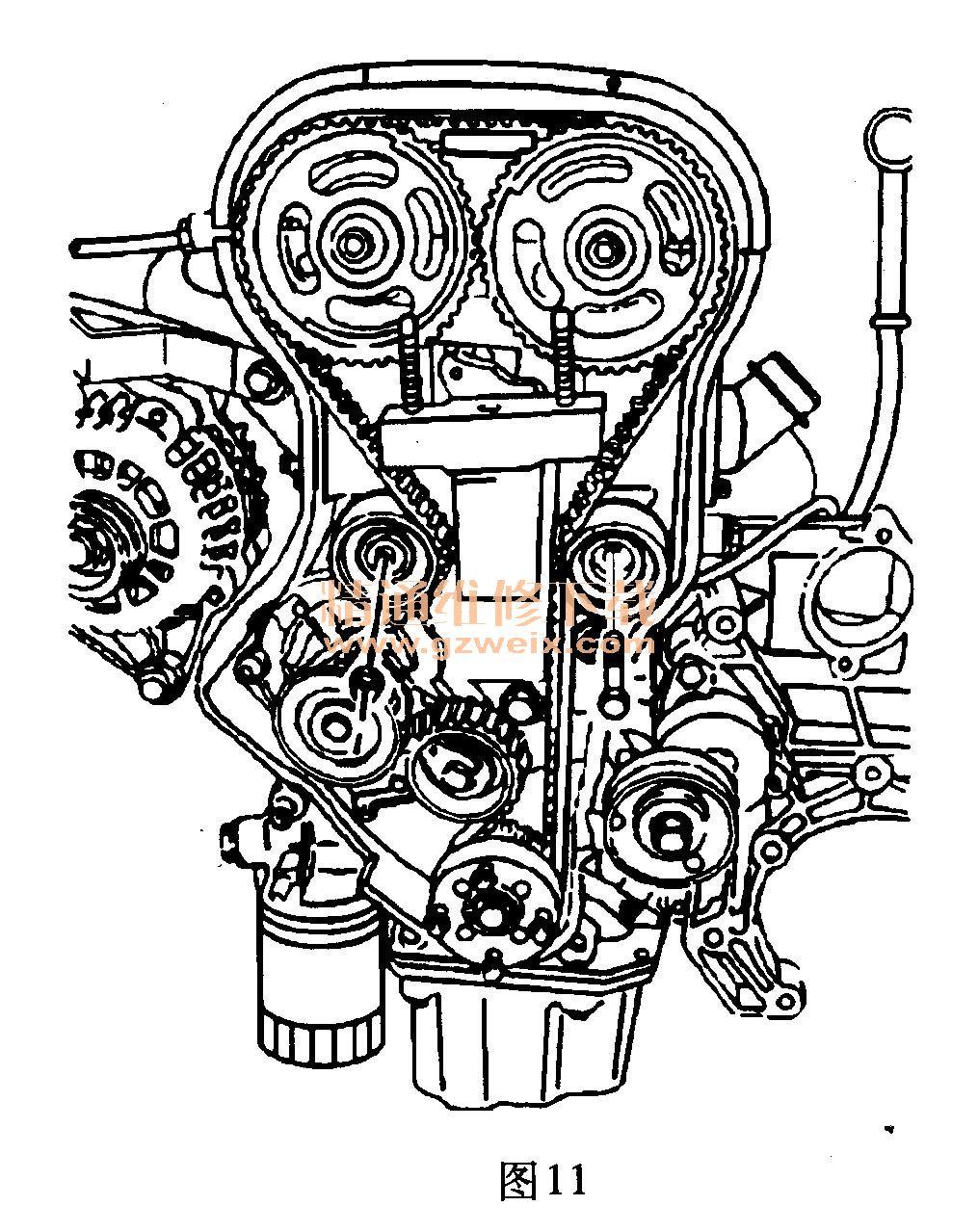 别克凯越(1. 8l l79)发动机正时校对方法