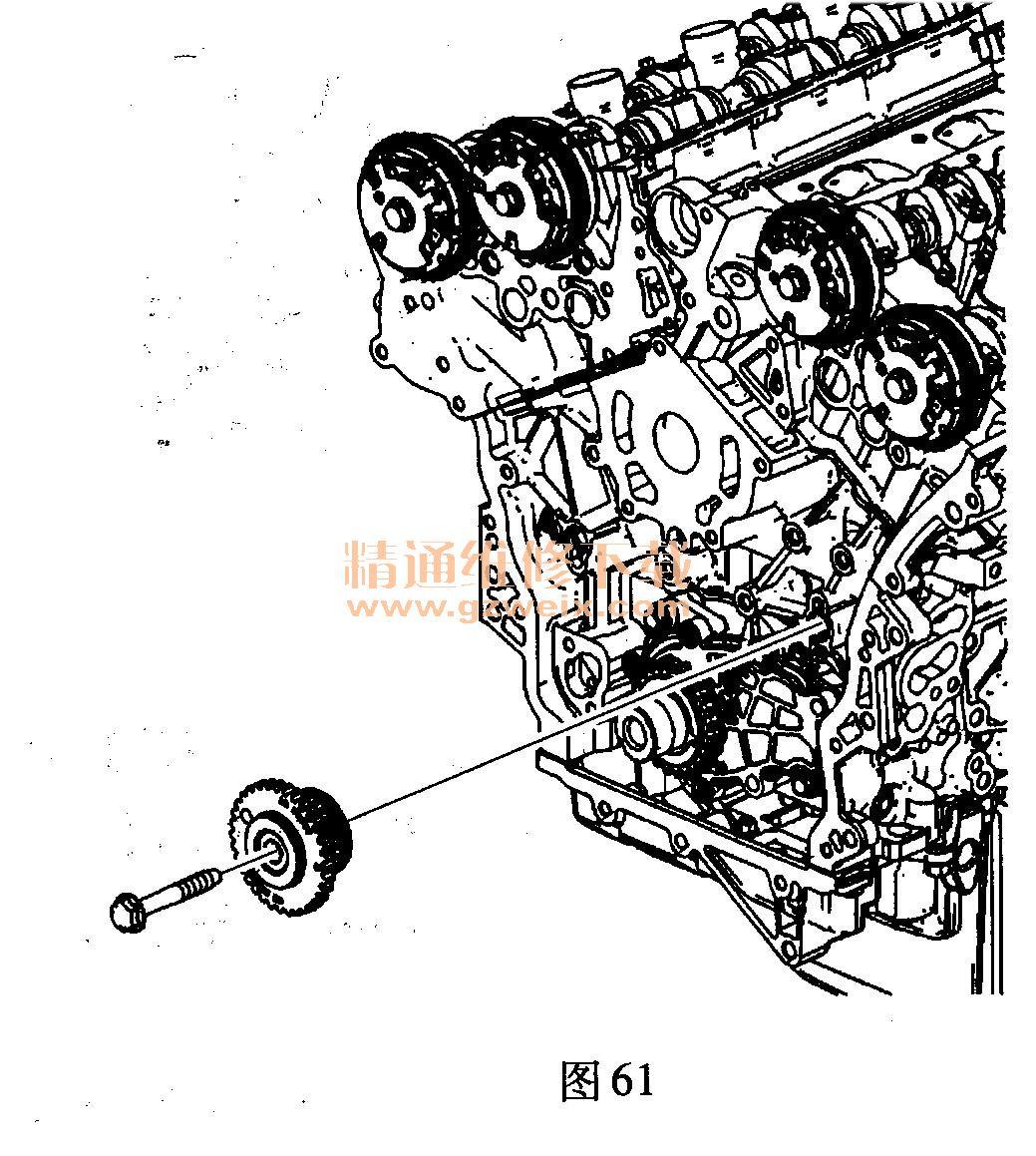别克君越(3. 0l lf1)发动机正时校对方法