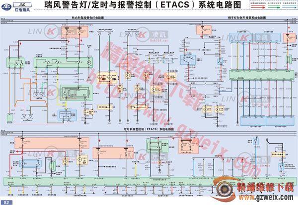 江淮瑞风警告灯,定时与报警控制(etacs)系统电路图图片