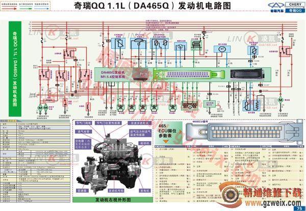 奇瑞QQ1.1L DA465Q 发动机电路图高清图片