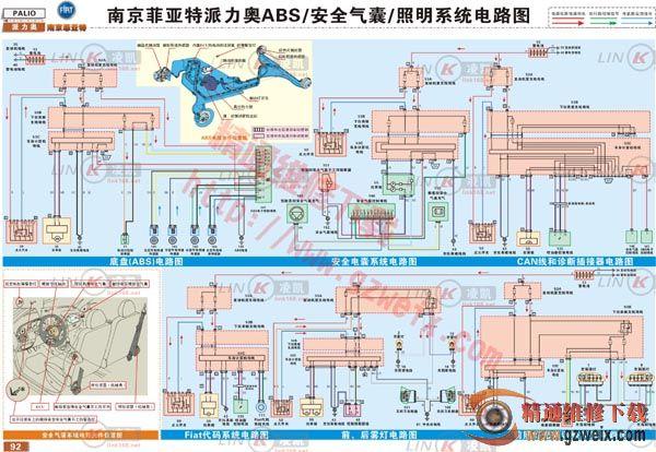 菲亚特派力奥abs,安全气囊与照明系统电路图高清图片