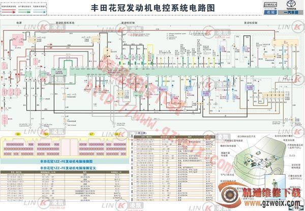 丰田花冠发动机电控系统电路图高清图片