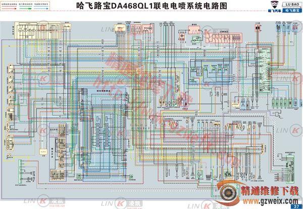哈飞路宝 da468ql1联电电喷系统电路图 哈飞路宝 da468ql1高清图片