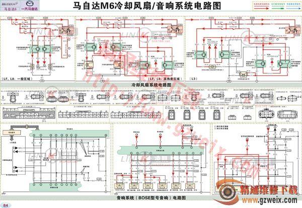 马自达M6冷却风扇,音响系统电路图高清图片