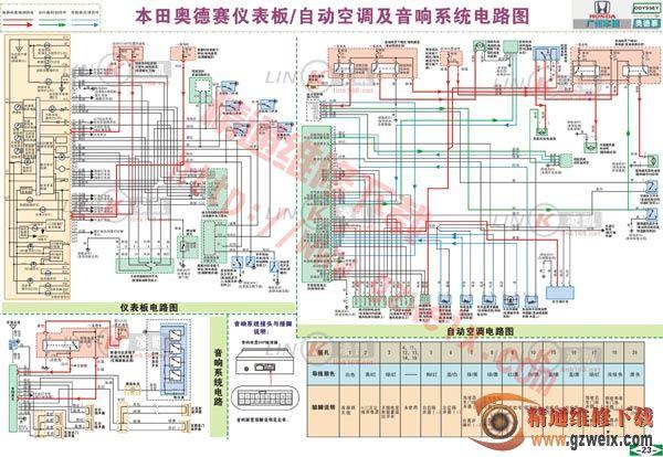 奥德赛仪表板/自动空调及音响系统电路图