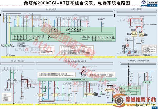 桑塔纳2000gsi组合仪表,电器系统电路图 高清图片