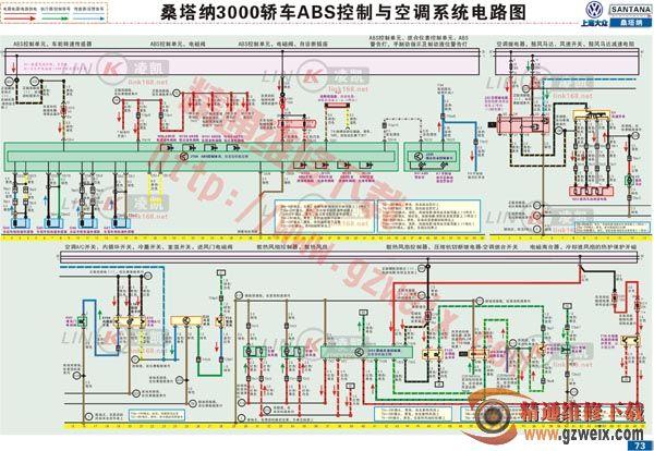 空调自动开关机_桑塔纳3000 ABS控制与空调系统电路图 - 精通维修下载