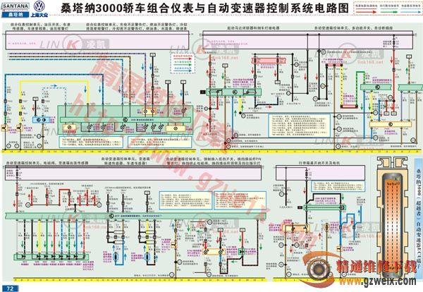 桑塔纳3000组合仪表与自动变速器控制系统电路图