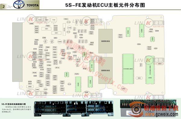 5s-fe发动机ecu主板元件分布图