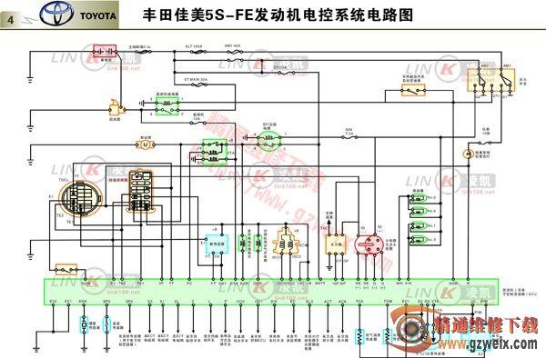 丰田佳美5S FE发动机电控系统电路图高清图片