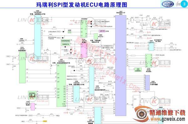 玛瑞利spi型发动机ecu pcb元件分布图