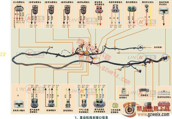 通用五菱发动机电控系统 发动机线束插口信息图片