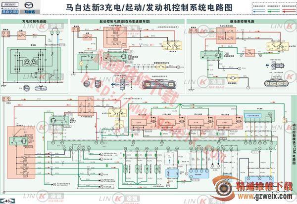 马自达3 充电,起动,发动机控制系统电路图